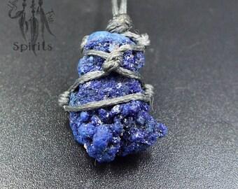 Azurite Necklace Blueberry Gemstone Raw December Birthstone Pendant Semiprecious Stone Blue Crystal Healing Natural Reiki Chakra Third Eye