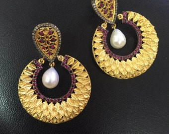 DESIGNER Pearl Earrings, Pearl And Diamond Earrings, Earrings,Victorian Earrings, Pearl Drop Earrings,Drop Earrings, Dangle
