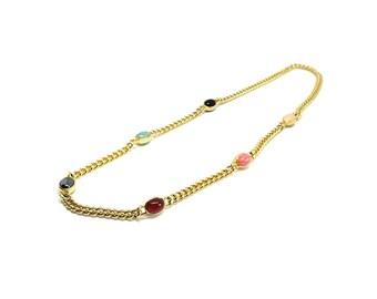 Vintage 1980's Necklace | Vintage Necklace | Chain Necklace | Glass Gemstone Necklace | Gold Necklace | Statement Necklace | Heavy Chain