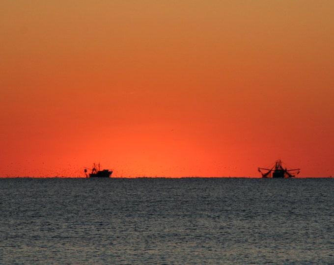 Featured listing image: BHI Fridge Magnets: Bald Head Island Trawlers at Sunset