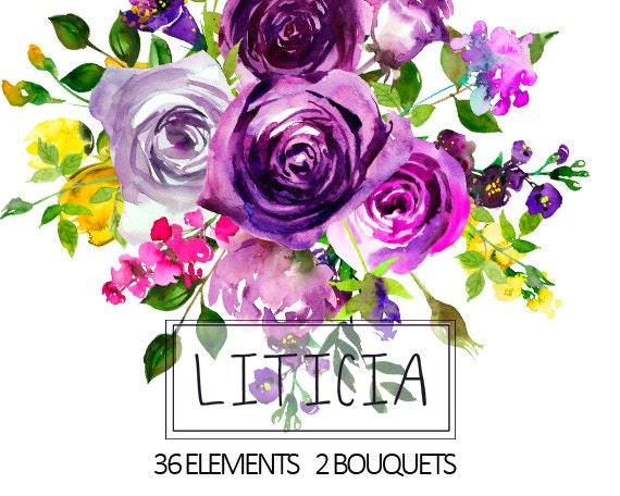 Purple Watercolor Flowers Clipart Floral Bouquets Wreath