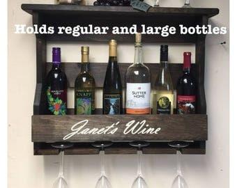 Personalized Wine Rack | Wine Rack Personalized | Engraved Wine Rack | Wine Rack with 4 stem glass slots