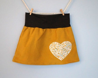 Corduroy skirt for girls size 92 mustard-yellow