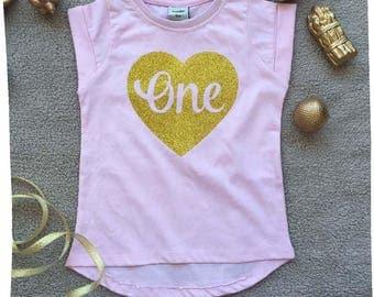 one shirt, Girls First birthday Shirt, birthday shirt 1 year old, first birthday gift, girl birthday outfits, Baby girl 1st birthday outfit