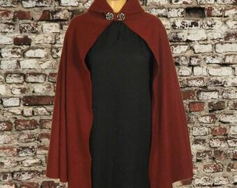 Fleece Burgundy Hooded Cape Cloak, Medieval LARP LOTR Cosplay Costume