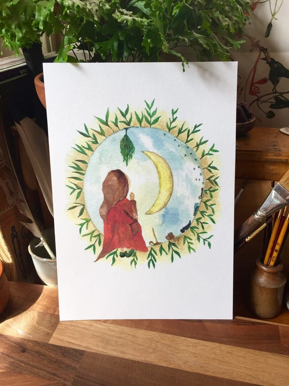 Offerings To The Sage Moon Watercolour A4 Print