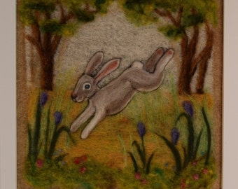 Rabbit needle felting - needle felted wool painting