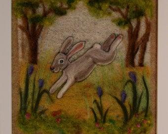 Rabbit needle felting - needle felted wool painting
