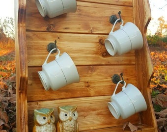 Coffee cup holder, Coffee cup shelf, Tea cup holder, Coffee cup hooks, Tea cup display, Great gift, Kitchen shelf, Tea cup shelf