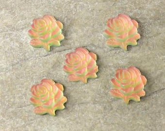 9mm Glass Flower Cabochon - Rose Engraved - Matte Iridis - Foiled Back - Sold as pair of cabochons (2)