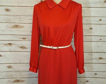 Vintage, 80's, Red secretary dress, Large