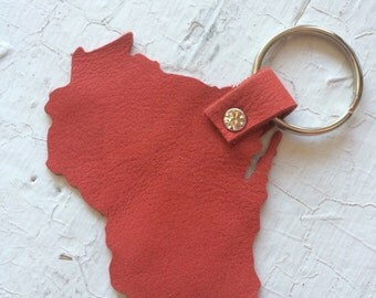 Real Leather Wisconsin Keychain
