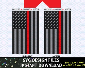 Thin Red Line Flag SVG Vinyl Cutting Decal, for Mugs, T Shirts, Cars  SVG files for Silhouette Cameo Cut Files,  SVG  Decal