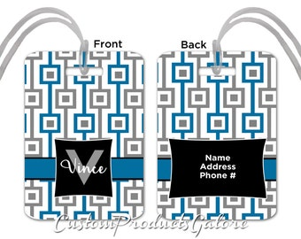 Luggage Tag - Linked Squares, Blue and Gray, Personalized Luggage Tag, Suitcase Bag Tag, Fun Luggage Tag