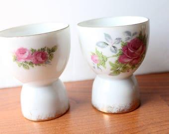 Pair Vintage Pink Rose Egg Cups Kelvin Fine China