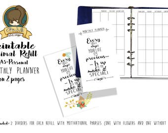 Printable Monthly Planner Refill-Giuva-Minimal-A5-PERSONAL
