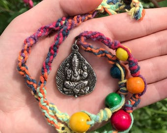 Ganesh Rainbow Hemp Necklace