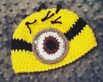 Minion Hat/ Crochet Minion/ Costume/Minions/toddler/infant