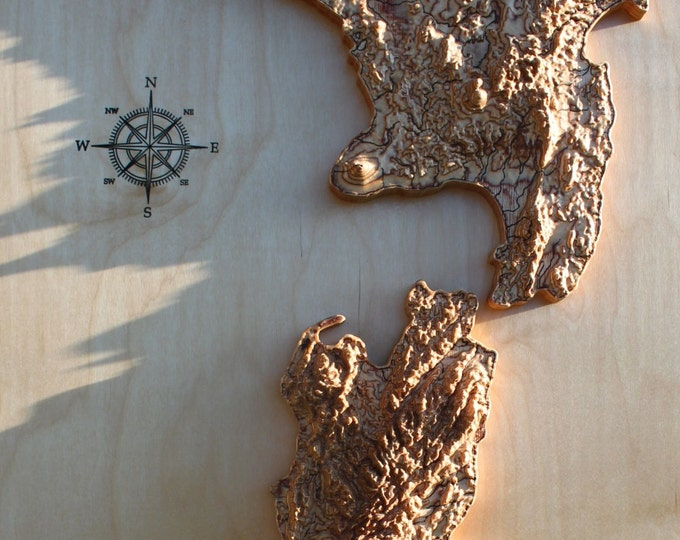 "New Zealand 3D Map cut in wood 30"" x 15"""