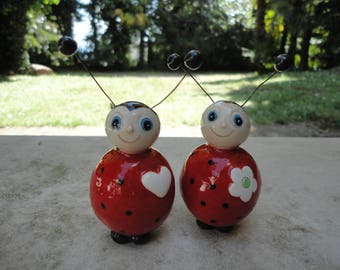 Ceramic wedding cake topper - Ceramic ladybugs - cute wedding cake topper- wedding gift