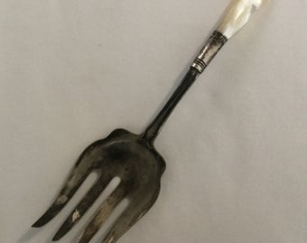 Antique Mother Of Pear Handled Sterling Silver Cold Meat Serving Fork