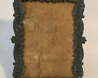Antique Nineteenth Century Ornate Pattern Silverplate Photo Frame