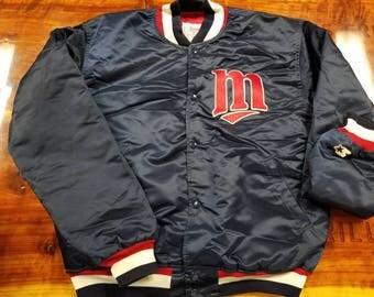 XL Minnesota twins starter jacket, 90s jacket,vintage satin jacket
