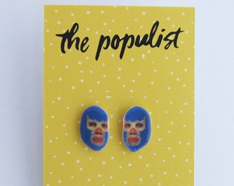 Mexican Luchador Stud Earrings. Handmade Jewelry. Lucha Libre. Gift. Kitchy. Folk. Enmascarado Wrestling.