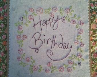 Happy Birthday Card, Flower Birthday Card, Simple Birthday Card, Hand Stitched Card, Blank Inside.