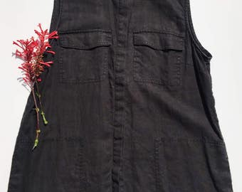 Black Linen Button Up Sleeveless Tunic Top