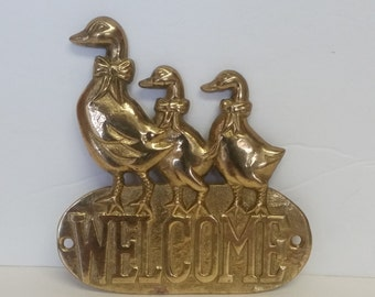Vintage Brass Ducks Welcome Sign