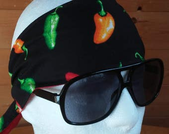 Handmade headband hot pepper print