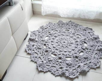 Vintage Look Doily Handmade Crochet Light Grey Rug 3D Warm Soft Organic