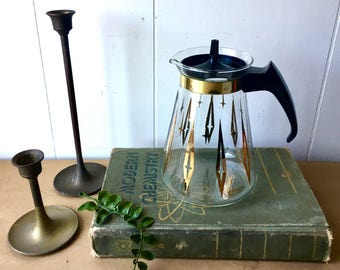 Vintage Gold and Black Atomic Pyrex Coffee Carafe - Serving Decor - Mid Century Kitchen