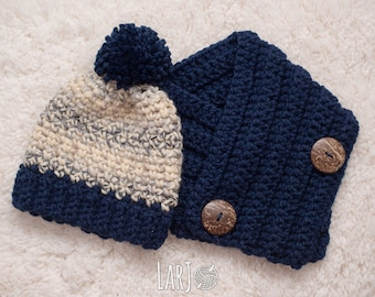 The Francis Button Scarf & Winter Block Hat Set (Unisex Adult Bulky Scarf and Chunky Hat Set)