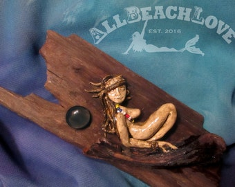 Surfer, Woman, Moon, Nude, Sexy Girl, Driftwood, Clay, Glass Beads, Mermaid Tear - Glass Moon, One ofa Kind, Naturist, Relaxin, Hangable Art