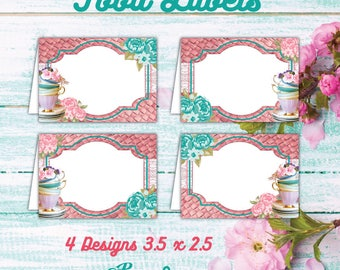 Printable Tea Party Food Labels, Tea Party Custom Place Cards, Tea Party Birthday, Floral Party, Shabby Chic tents, Vintage Decoration