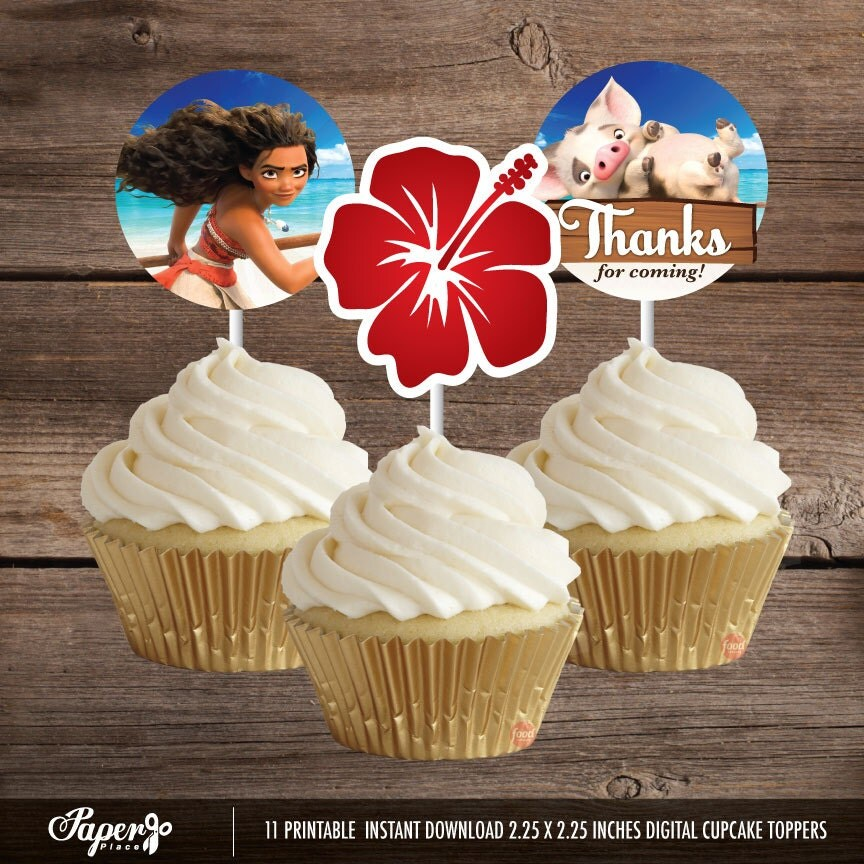Moana cupcake toppers printable moana party decoration for New home cupcake decorations
