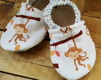 Monkey, tree, white, polkadot,   Moccasins, baby crib shoes, soft sole