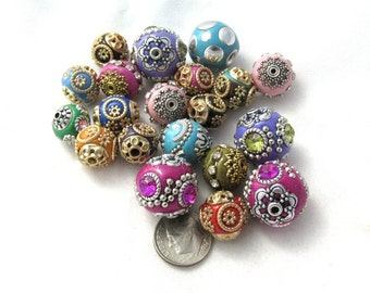20 Asst. Size/Colors Handmade Indonesian Kashmiri Beads (s5D)