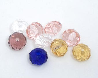 100 Assorted Crystal Glass Abacus Beads 6x4mm (B186g)