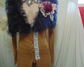 Long Stretch Angel Coat Eyelash Collar Applique French Shabby Chic sz 10