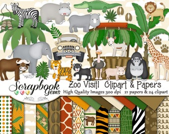 ZOO VISIT! Clipart & Papers Kit, 24 png Clipart files, 21 jpeg Paper files, Instant Download gorilla elephant giraffe tiger lion hippo rhino