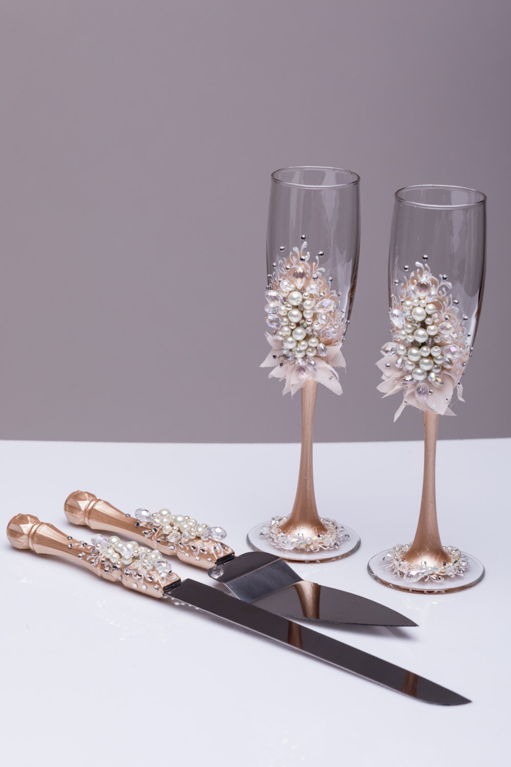 Wedding Glasses And Cake Server Set Pearl Champagne Flutes