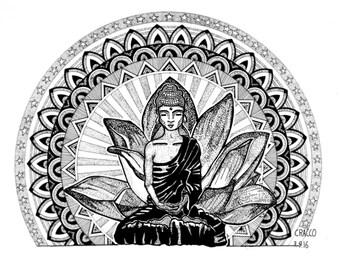 BUDDHA (fine man portrait, original black ink illustration with artsy patterns and zen mandala, print)