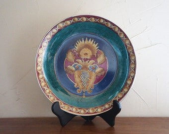 Vintage Hand Painted Dark Green Art Plate, Oriental Accent, Made in China