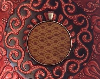 Japanese Pattern - Laser Engraved Wood Pendant Necklace