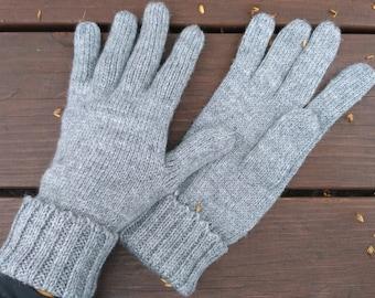 Gray gloves five finger gloves winter gloves 5th anniversary gift for men gift for women gift for husband gift for him gift for boyfriend