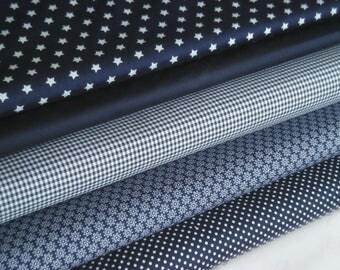 Dark blue fabric package 5 substances 50 x 145 cm