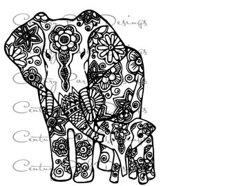 Elephant & Baby mandala SVG / JPEG / PNG /pdf/ use with Silhouette Studio and Cricut Design Space  - Commercial Use - Adult Coloring Page